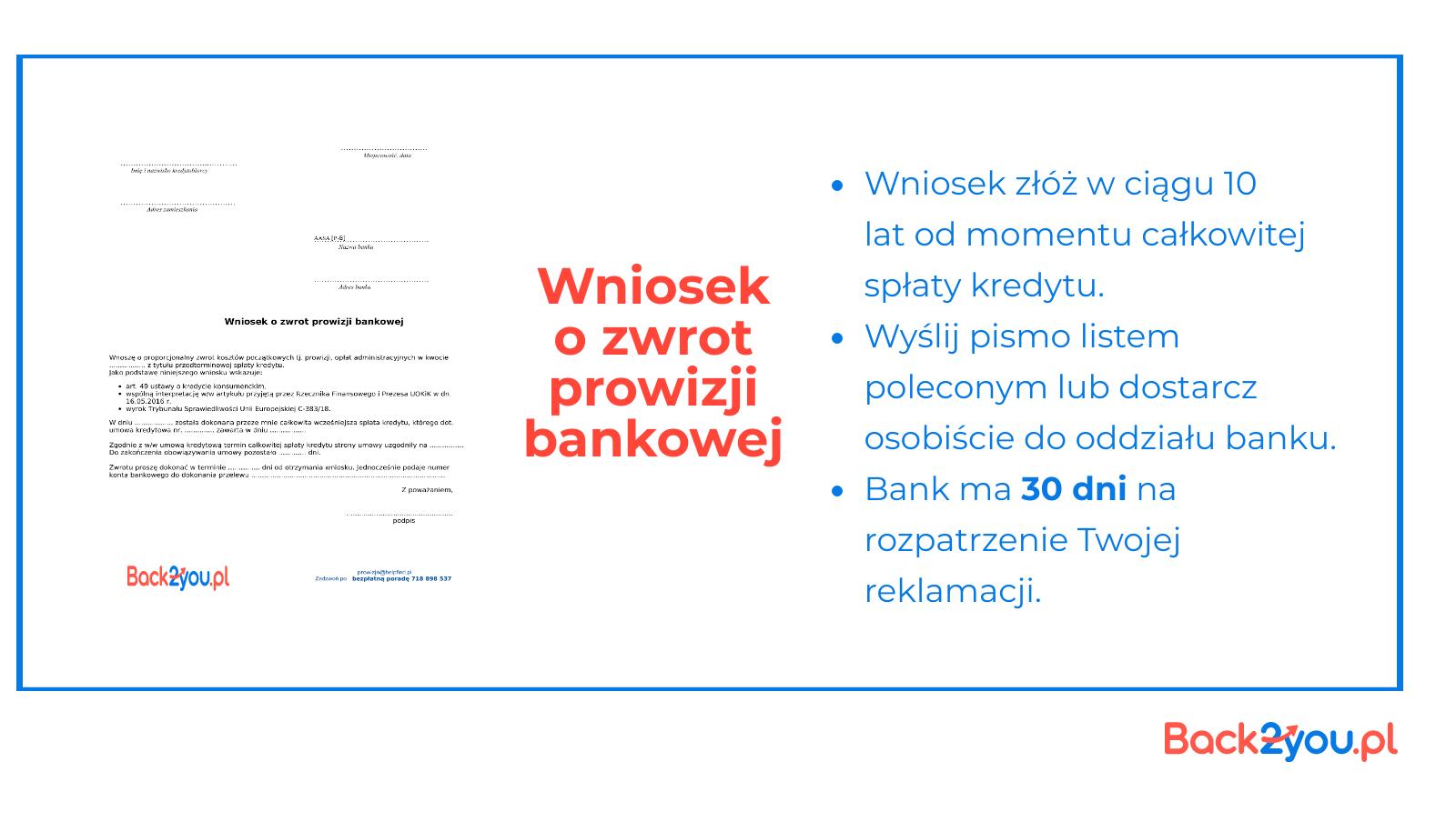 wniosek o zwrot prowizji bankowej